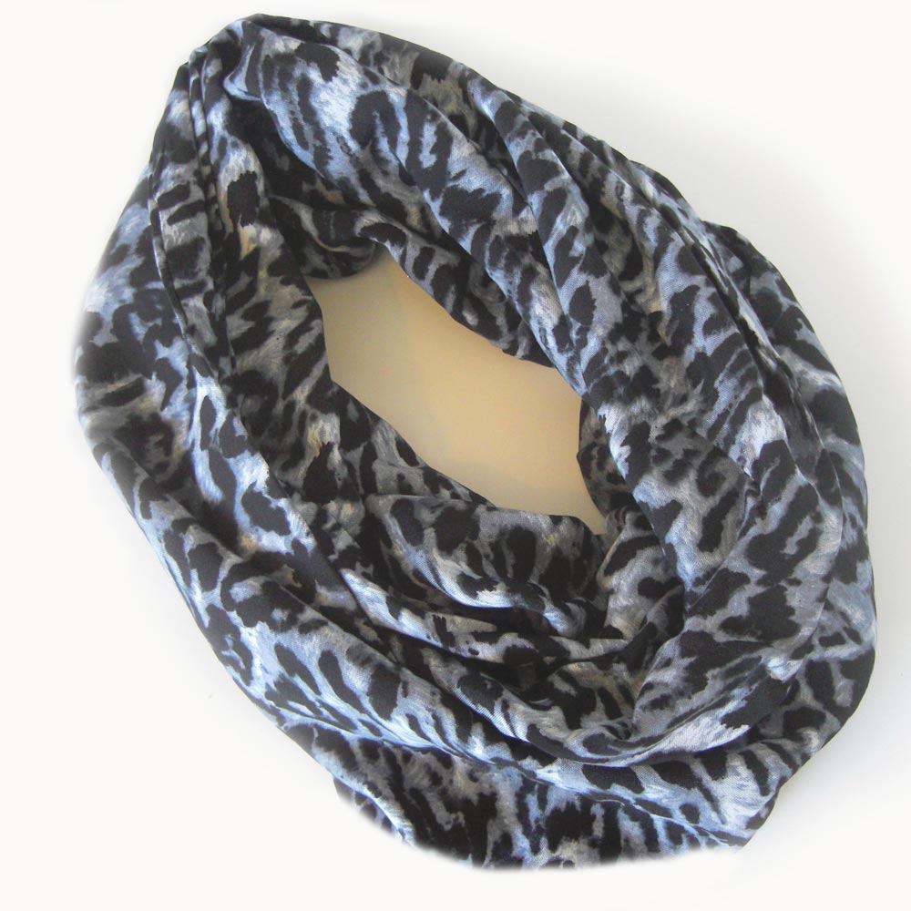 Challis Infinity Scarf Leopard Print in Black and Grey ... - photo#43
