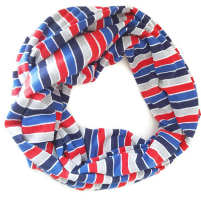 Striped Patriotic Jersey Knit Infinity Scarf