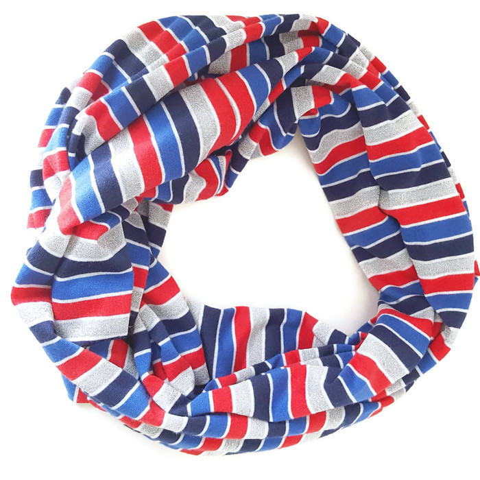 Striped Patriotic Jersey Knit Infinity Scarf - After 23