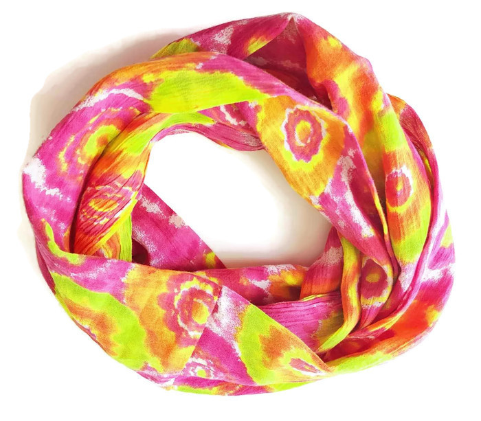 45f26c1913d0c Cotton Gauze Infinity Scarf-floral tie dye pink, green and orange ...