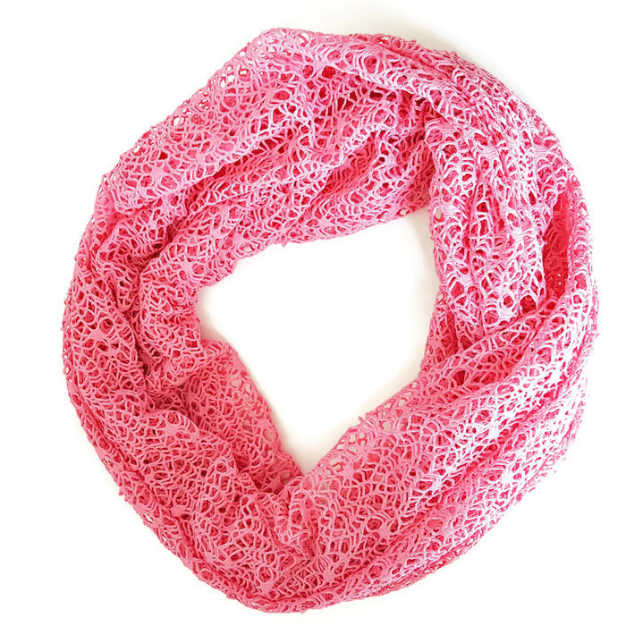 Pink Open Weave Knit Infinity Scarf Lacey Looking After 23